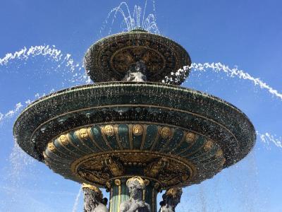 巴黎, 喷泉, 协和广场, 感兴趣的地方, 旅游, 法国, 水游戏