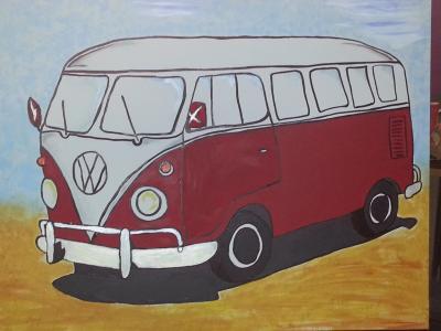 自动, 大众汽车, 艺术, 绘画, 图像, 油漆, 画