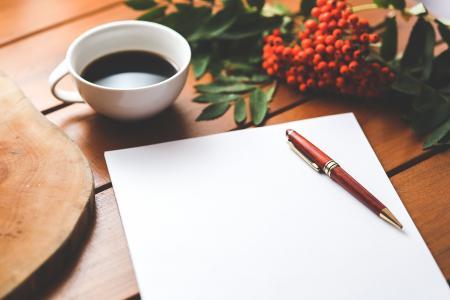 空白, 纸张, 钢笔, 咖啡, 工作, 工作, 办公桌