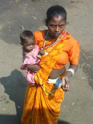 印度, 贫困, 乞丐, 妇女, 施舍