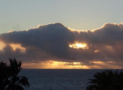 日落, 海, 黄昏, 余辉, wolkenverdeckt, 天空的颜色, 浪漫