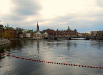 斯德哥尔摩, 格姆拉斯坦斯坦, 旧城, 城市景观, 桥梁, 海, 视图