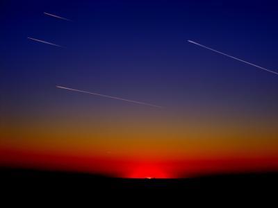 流媒体, 飞机, 条纹, 飞行, 天空, 云计算, 日落