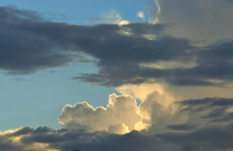 天空, 云计算, 积云, 白色, 边缘, 光明, 成荫