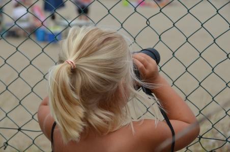 双筒望远镜, 图像, 眼睛, 焦点, 寻找远, 女孩, 金发女郎
