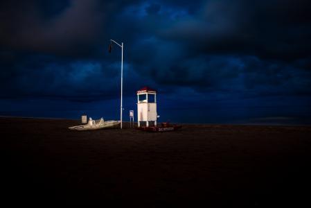 海滩, 小船, 救生员塔, 海洋, 户外, 沙子, 海