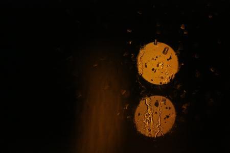 玻璃, 晚上, 下雨天, 湿法, 窗口, 金