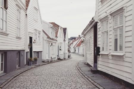 房屋, 石材砌块路面, 石路, 街道, 木结构房屋