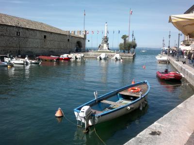 lazise, 加尔达, 小船, 摩托艇, 船港, 水, 心情