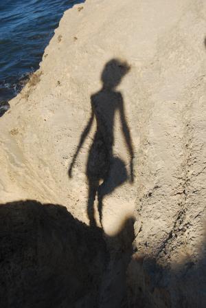 老兄, 女人, 反思, 海滩, 人, 海, 剪影