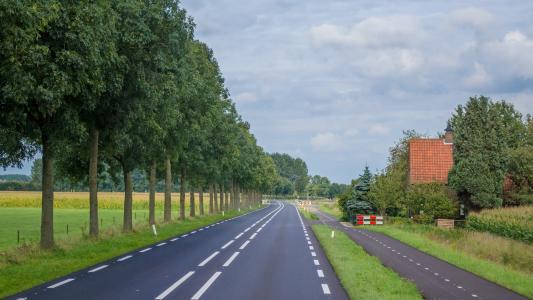 荷兰, 道路, 农村, 景观, 自然, 夏季, 村庄