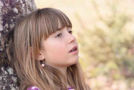 人类, 儿童, 女孩, 脸上, 视图, 金发女郎, 长长的头发