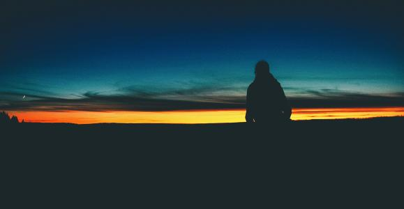 剪影, 人, 日落, 天空, 一个人, 自然, 后方的看法