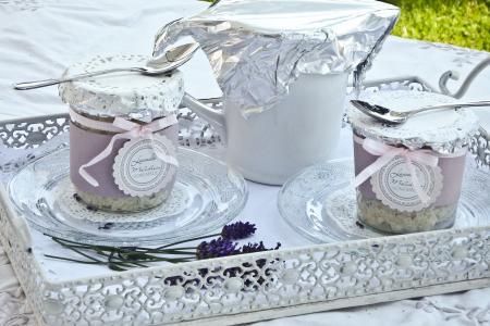 玻璃, 封面, 甜点, 大米布丁, 壶, 白色, 托盘