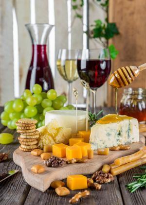 奶酪, 奶酪盘, 葡萄酒, 小吃, 美食, 营养, 食品