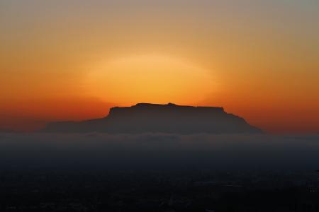 开普敦, 桌山, 云银行, 日落, 南非