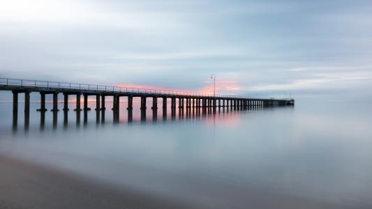 码头, 码头, 海滩, 顺利, 日落, 海, 海洋