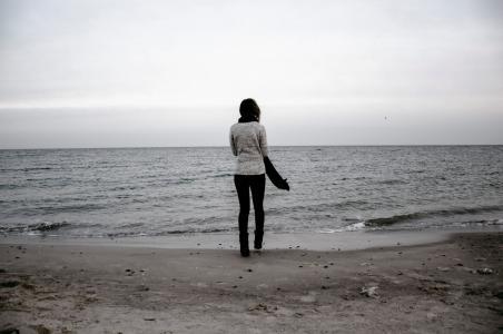 海, 女孩, 太阳, 海滩, 人, 生活方式, 海洋