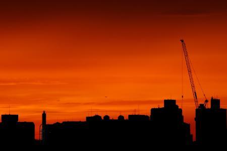日落, 九老洞, 汉城, 发光, urbal, 城市, 橙色的天空
