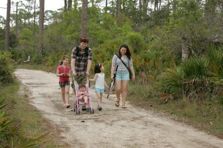 公园, 路径, 漫步, 享有, 家庭, 人, 户外