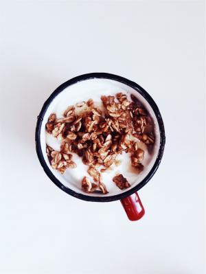 格兰诺拉麦片, 牛奶, 早餐, 杯, 杯子, 食品