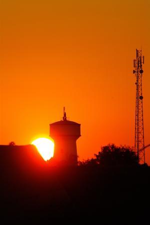 水塔, 无线电塔, 日落, 剪影, 橙色, 太阳, 马达加斯加