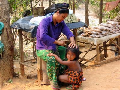 身体护理, 儿童福利, 梳子, 亚洲, 人, 文化, 户外