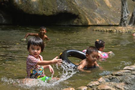瀑布, 孩子们, 可爱, 夏季, 游泳池, 河