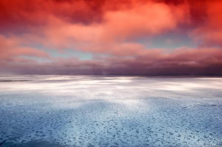 赫德森湾, 加拿大, 海, 海洋, 冰, 几点思考, 天空