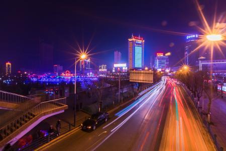 西宁, 西大街, 夜景, 慢门