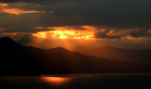 日落, 山脉, 岛屿, 风景名胜, 热带, 云彩, 天堂