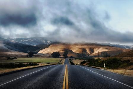 加利福尼亚州, 道路, 公路, 山脉, 景观, 风景名胜, 农村