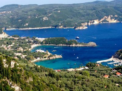 希腊, 岛屿, 科孚岛, 海, 心, 蓝色, 绿松石
