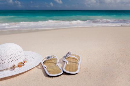配件, 海滩, 蓝色, 女性, flip-flops, 帽子, 假日