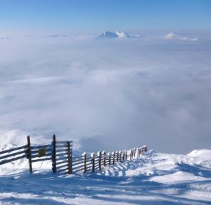 法国, 阿尔卑斯山, 山脉, 景观, 栅栏, 农场, 雪