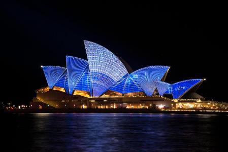 悉尼, 歌剧, 房子, 澳大利亚, 悉尼港, 生动, 灯光秀