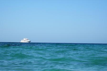 蓝色, 小船, 邮轮, 地平线, 旅程, 休闲, 豪华