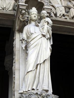 巴黎, 巴黎圣母院, 圣母玛利亚, 处女, 处女和儿童, 雕像, 大教堂
