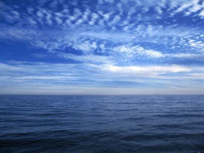 海, 蓝色, 云彩, 天空, 地平线