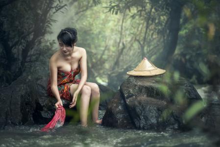 亚洲, 洗澡, 柬埔寨, 瀑布, 很酷, 文化, 可爱