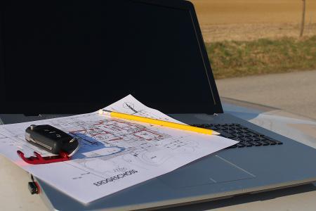 建筑计划, 笔记本电脑, 访问, 网站, 计划