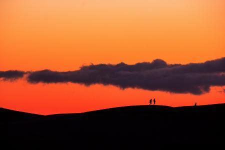 日落, 加那利群岛, 大加那利岛, 剪影, 剪影, 橙色, 风景