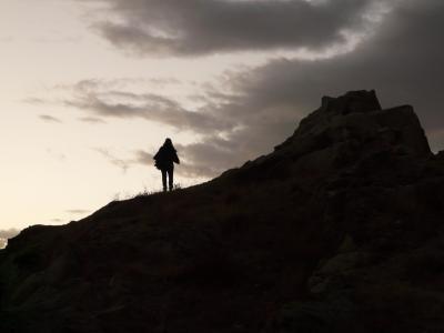 wanderin, 徒步旅行, 剪影, 岭, 上升, 黄昏