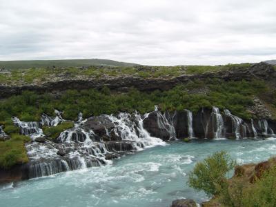 冰岛, 瀑布, 绿松石, 河, 巴赫, 景观, 田园