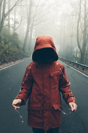 成人, 儿童, 感冒, 脸上, 秋天, 雾, 女孩