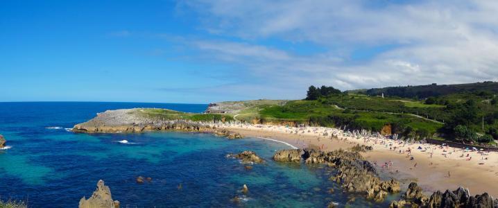 海滩, llanes, 阿斯图利亚斯, 西班牙, 海, 沙子, 景观