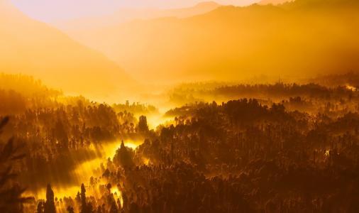 日出, 早上, 阳光, 印度尼西亚, 山脉, 剪影, 景观