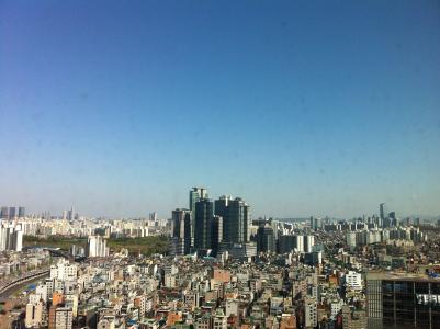城市, 在前景, 汉城, sillim 洞, 建设, 天空, 大韩民国