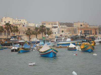 端口, 马耳他, marsaxlokk, 小船, 渔船, 如诗如画, 多彩