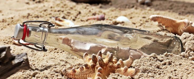 瓶中信, 瓶, 发布, 海滩, 沙子, 玻璃瓶, 字母
